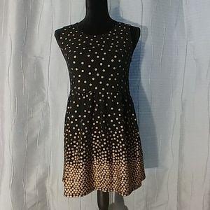 Girls sleeveless black & Gold polkadot dress Sz XL
